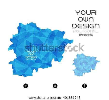 Geometric Map Europe Andorra Stock Vector Royalty Free 401881945