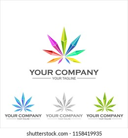 geometric Marijuana logo template  low poly glass crystal diamond  vector