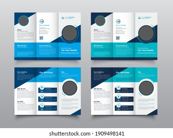 Geometric Medical, Healthcare Trifold Medical Brochure Flyer Layout Template.