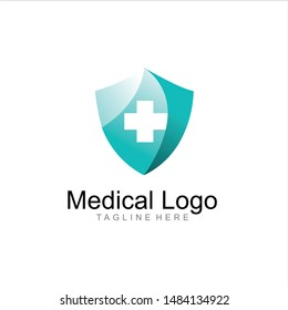 geometric medical & pharmaceutical logo design vector, combined aqua blue and little bit white color in white background. change able color and work well in both dark and light background
