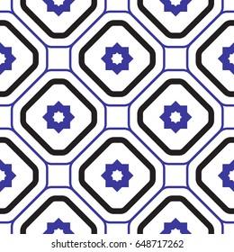 Geometric mediterranean blue and white rhombus seamless tile pattern.