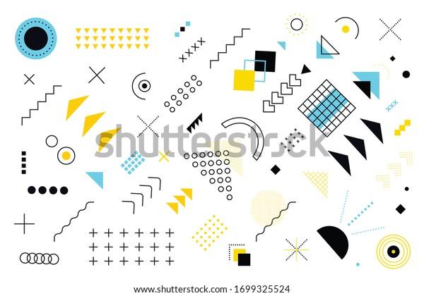 Geometric Memphis Design, Minimal Seamless Cover, Vector Design. Cool Futuristic Texture Modern Flat Bauhaus. Textile Retro Element Design Vintage Memphis