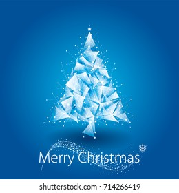 Geometric Merry Christmas and Happy New Year background with glitter Christmas tree.