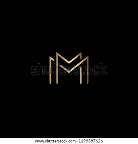 geometric minimal letter m or mm logo design in vector format