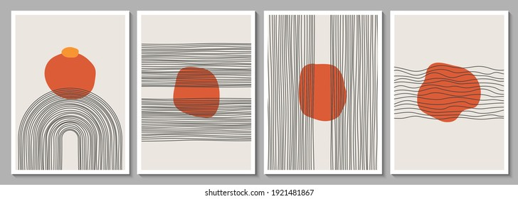 Geometric minimalist abstract hand painted poster for wall decor, print design. Vector illustration creative linear shapes canvas