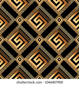 Geometric modern greek key 3d seamless pattern. Abstract vector background. Meanders ornament with gold frames, rhombus, circles, shapes, zigzag figures. Vintage ornate design for wallpapers, fabric