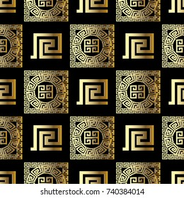 Geometric modern vector seamless pattern. Modern black background wallpaper with gold ornamental abstract shapes, figures, circles, squares and greek key meander ornaments. Ornate surface  3d texture