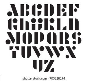 Geometric modular vector font. Creative stencil type