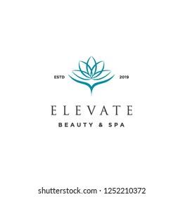 geometric mono line elevate lotus flower logo icon vector inspiration