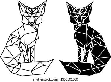 Geometric monochrome fox