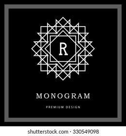 Geometric Monogram logo. Abstract Vector template in trendy mono line style. Letter emblem R. Monochrome vintage hipster. Minimal Design elements for logo, badge, banner, insignias, frame, label.