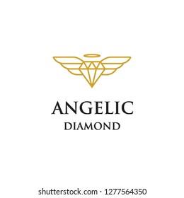 geometric monoline diamond jewelry beauty with angel wings heaven logo icon vector template