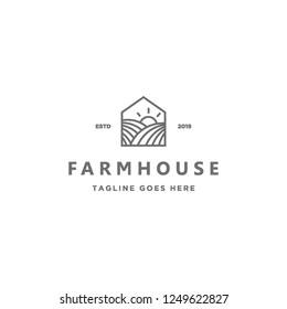 geometric monoline farm in a house shape logo icon vector inspiration