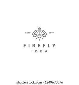 geometric monoline firefly and light bulb idea logo icon vector inspiration