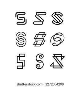 geometric monoline monogram letter s initial lettermark logo icon vector template pack set bundle collection