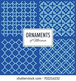Geometric Morocco Ornament Seamless Patterns Set