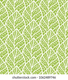Geometric Mosaic leaves vector seamless pattern. Abstract vector texture. Leaf background.