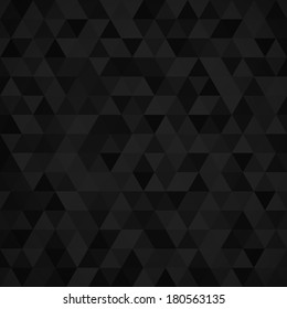 Geometric mosaic pattern from black triangle texture, abstract vector background illustration