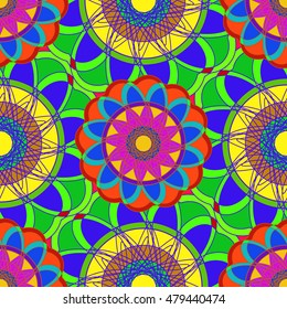 Geometric multicolor fractal mandala seamless pattern for background.