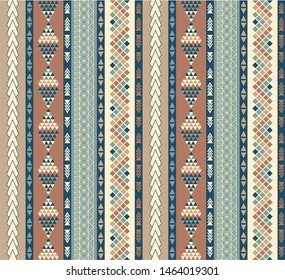 Geometric Native, Polynesian-Inspired, Southwestern-style, Seamless Repeating Pattern in Tan, Blue, and Yellow