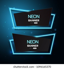 Geometric neon banner. Neon light frame. vector illustration.
