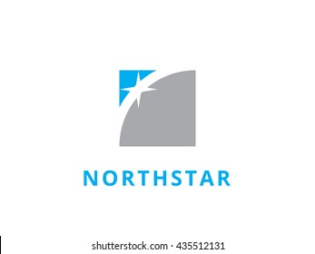 geometric and north star logo template