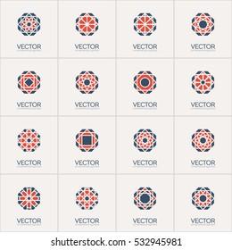 Geometric octagonal logo template set. Vector mosaic arabic ornamental symbols