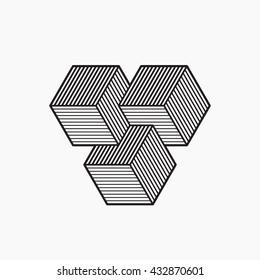 Geometric optical illusion. Cubes. Vector illustration, EPS 10. Line design