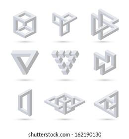 Geometric optical illusion symbols. Vector illustration