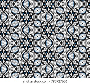 Geometric optical illusion vibration design.Pentagon black and white colors seamless pattern. Trendy contemporary fashion style.