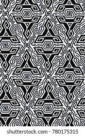 Geometric optical illusion vibration design.Triangles black and white colors seamless pattern. Trendy contempirary fashion style.