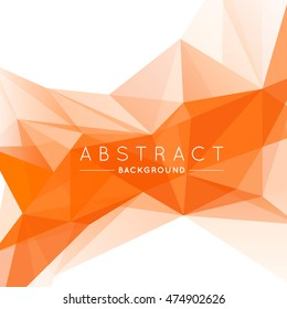 Geometric Orange and White Abstract Vector Background for Use in Design. Modern Polygon Texture with Text.