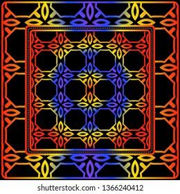 Geometric Ornament With Frame, Border. Art-Deco Background. Bandanna, Shawl, Scarf, Tablecloth Design.