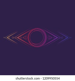 Geometric ornament with moonand stars. Viccan symbol of a white goddess. Line drawing isolated on a deep violet background. Tattoo design. EPS10 vector illustration