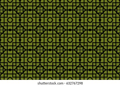 geometric ornament on color background. Seamless vector illustration. For interior design, wallpaper
