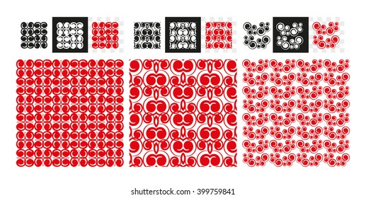 Geometric ornament. Red vector background.