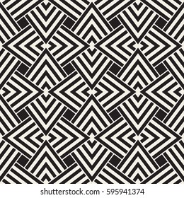 Geometric Ornament With Striped Interlacing Rhombuses. Vector Seamless Monochrome Pattern. Modern Stylish Texture.