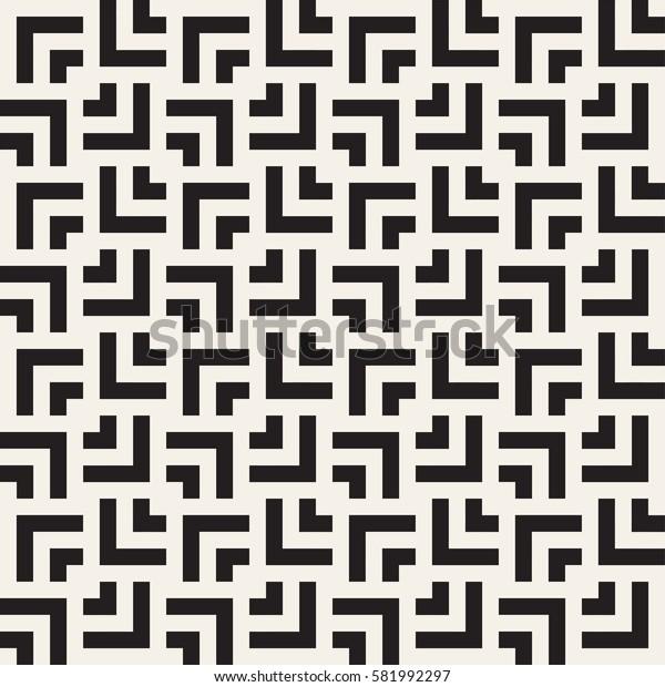 Geometric Ornament With Striped Interlacing Rhombuses. Vector Seamless Monochrome Pattern. Modern Stylish Texture.
