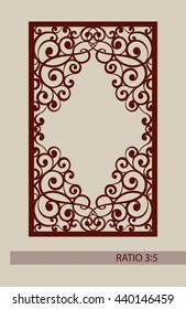 Geometric ornament. The template pattern for decorative panel. A picture suitable for laser cutting, paper cutting, printing, engraving wood, metal, stencil manufacturing. Vector