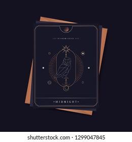 Geometric owl mystic symbol fortune card vector