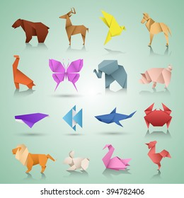 Animais geométricos de papel