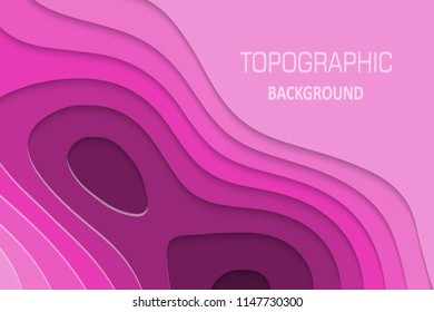 Geometric paper cut background, topography map cpncept. Vector illustration
