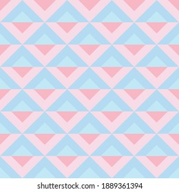 Geometric pastel seamless repeat vector background, pink and blue vintage, retro style.