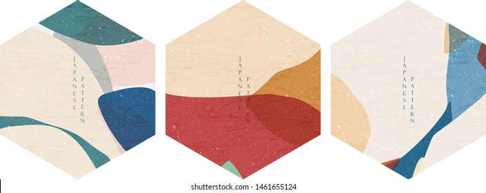 Geometric pattern with abstract background vector. Japanese wave template.