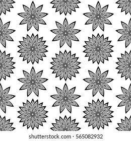 Geometric pattern with abstract flowers. Can be used for wallpaper, pattern fills, textile, web page background, surface textures, Image for advertising booklets, banners.