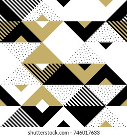 Geometric pattern of abstract golden seamless triangle, black square and white rhombus ornament. Vector background with gold geometry chevron pattern texture for backdrop tile template design.
