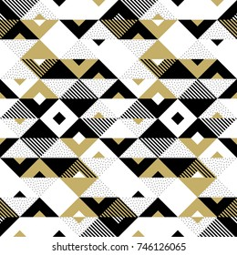 Geometric pattern of abstract golden seamless triangle, black square and white chevron rhombus ornament. Vector background with gold triangular geometry pattern texture for backdrop tile design