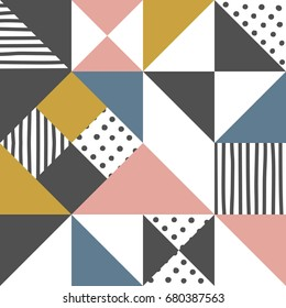 Geometric pattern. Abstract triangle background with hand drawn stripe and polka dot  Vector illustration.