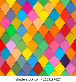 Geometric pattern. Background in harlequin style. Vector background - pattern with rhomboids (seamless).