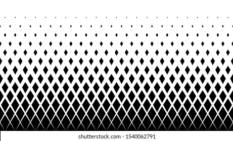 Geometric pattern of black diamonds on a white background.Seamless in one direction.Option with a short fade out.The radial transformation method.